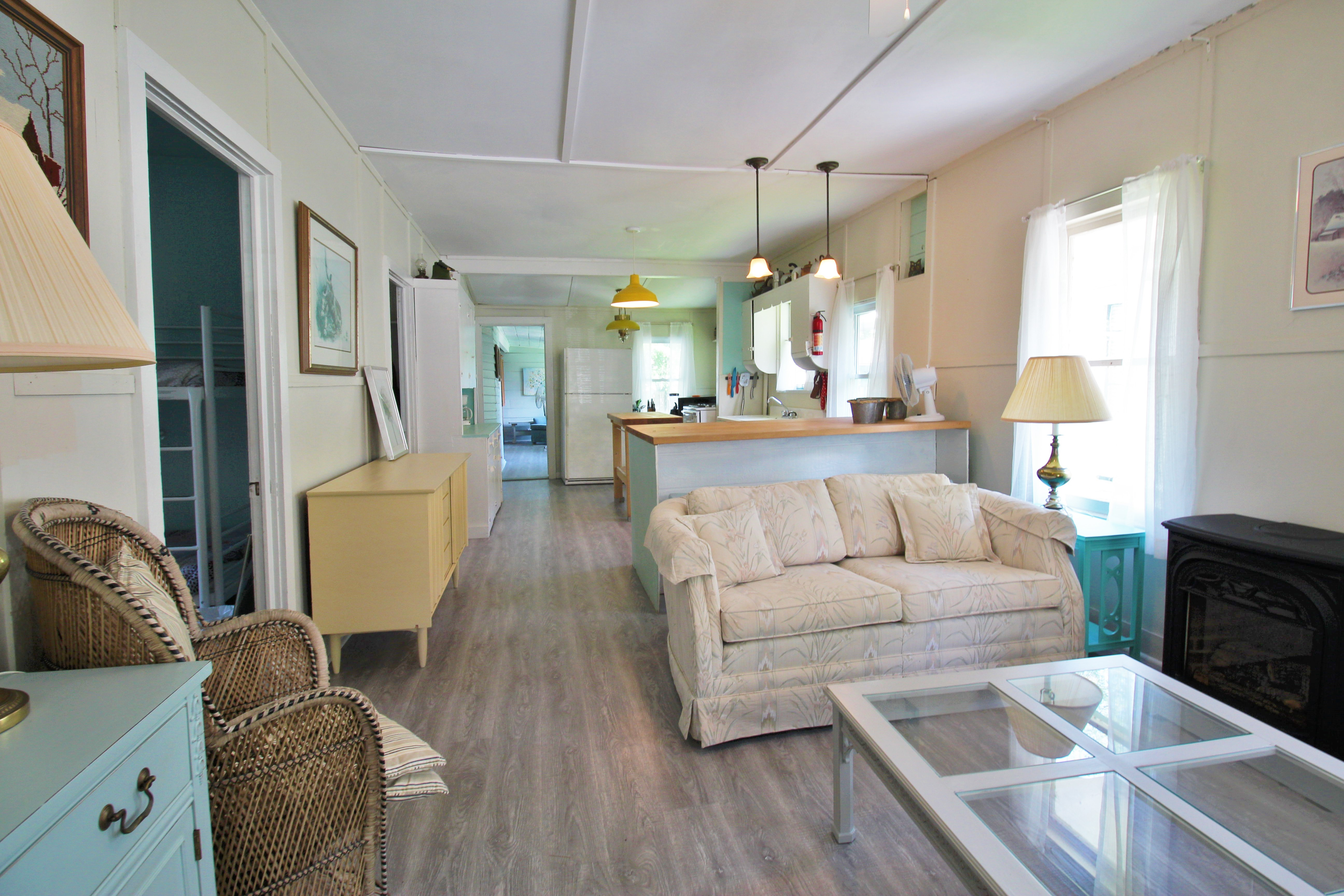 Crystal Beach Cottage Rentals - Bay Beach Bliss - kitchen & living room